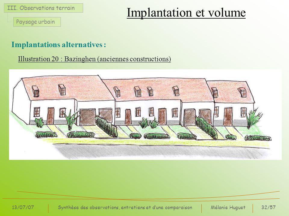 Mélanie Huguet32/57 13/07/07Synthèse des observations, entretiens et dune comparaison Illustration 20 : Bazinghen (anciennes constructions) Implantation et volume III.