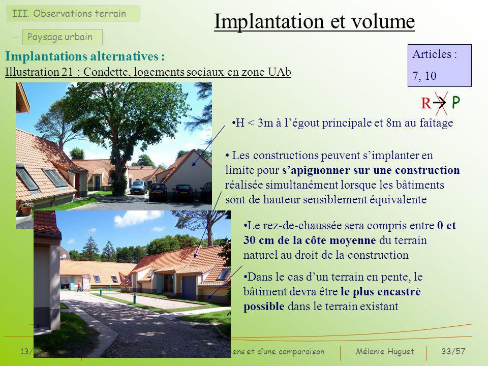 Mélanie Huguet33/57 13/07/07Synthèse des observations, entretiens et dune comparaison Illustration 21 : Condette, logements sociaux en zone UAb Implantation et volume III.