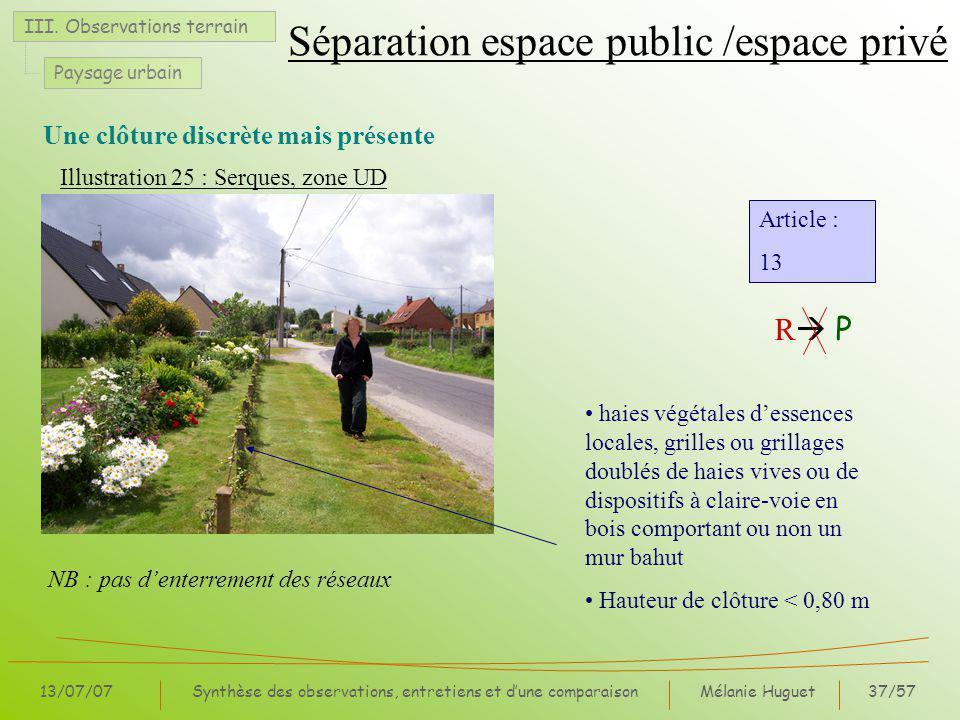 Mélanie Huguet37/57 13/07/07Synthèse des observations, entretiens et dune comparaison Une clôture discrète mais présente III.