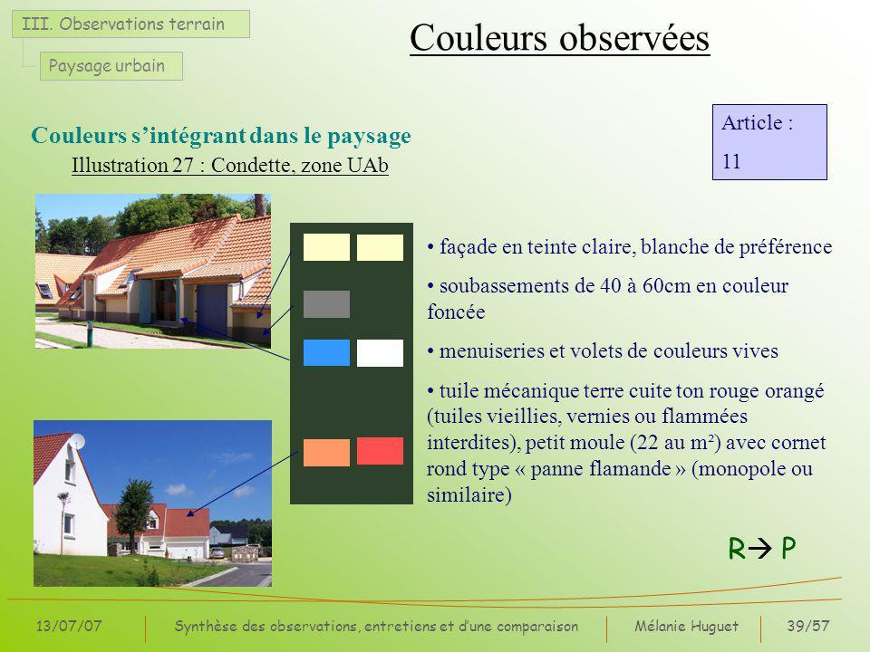 Mélanie Huguet39/57 13/07/07Synthèse des observations, entretiens et dune comparaison III.