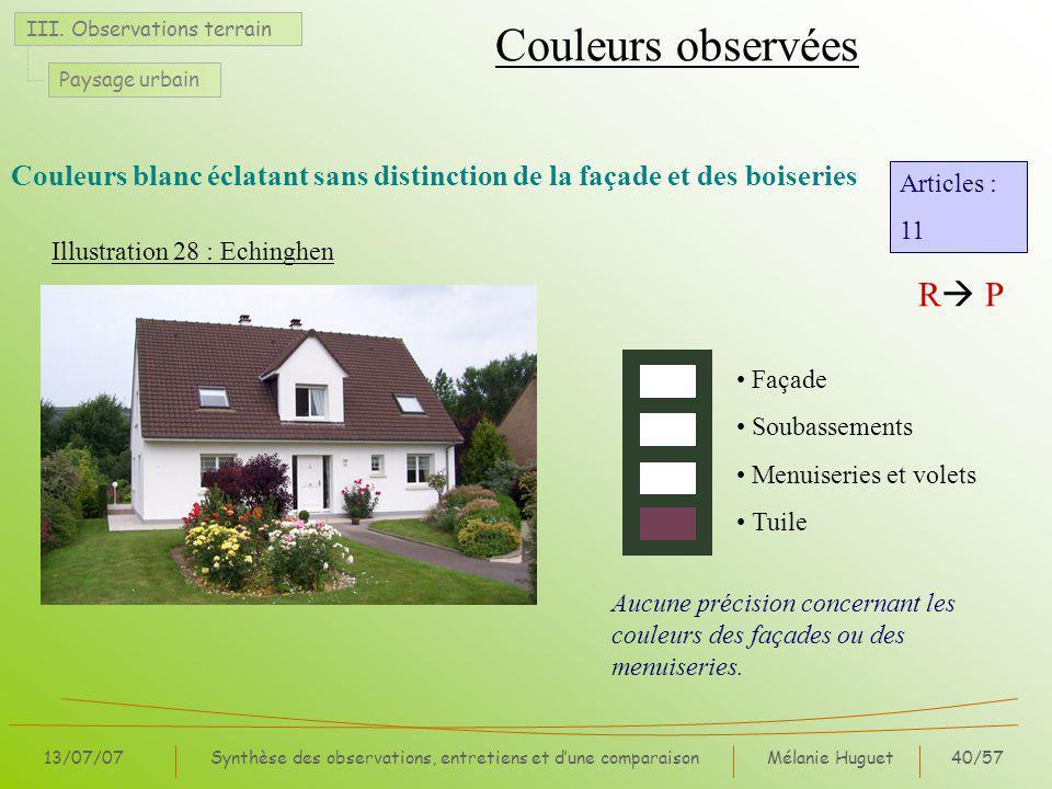 Mélanie Huguet40/57 13/07/07Synthèse des observations, entretiens et dune comparaison III.