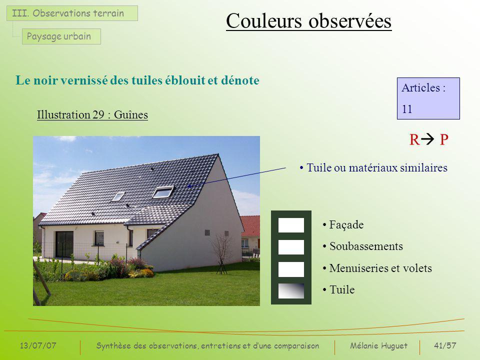 Mélanie Huguet41/57 13/07/07Synthèse des observations, entretiens et dune comparaison III.
