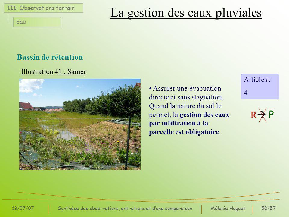 Mélanie Huguet50/57 13/07/07Synthèse des observations, entretiens et dune comparaison III.