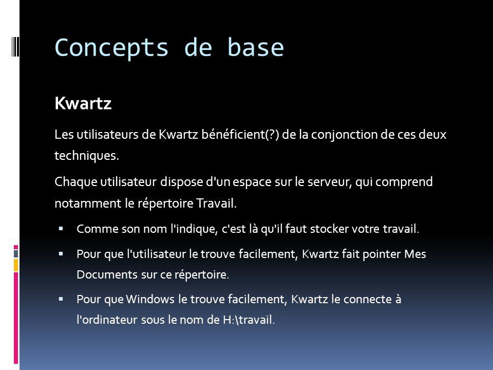 Concepts de base Kwartz Les utilisateurs de Kwartz bénéficient(?) de la conjonction de ces deux techniques. Chaque utilisateur dispose d'un espace sur