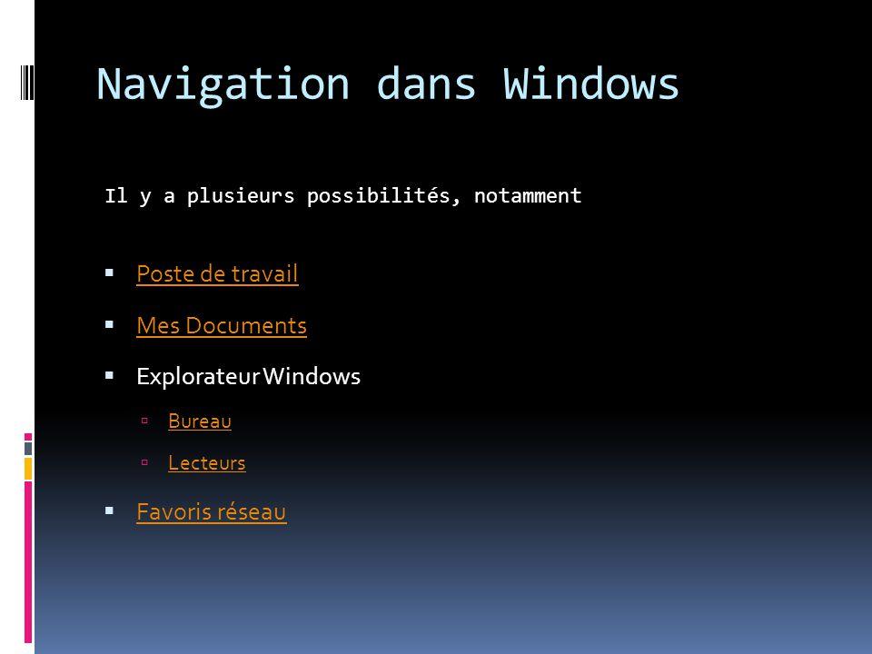 Navigation dans Windows Il y a plusieurs possibilités, notamment Poste de travail Mes Documents Explorateur Windows Bureau Lecteurs Favoris réseau