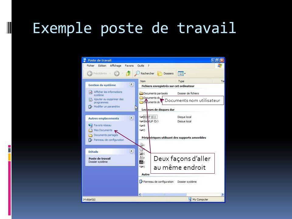 Exemple poste de travail Deux façons daller au même endroit Documents nom utilisateur