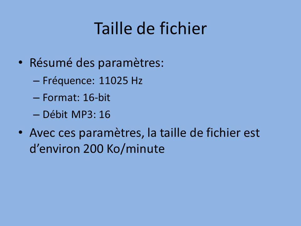Taille de fichier Résumé des paramètres: – Fréquence: 11025 Hz – Format: 16-bit – Débit MP3: 16 Avec ces paramètres, la taille de fichier est denviron 200 Ko/minute