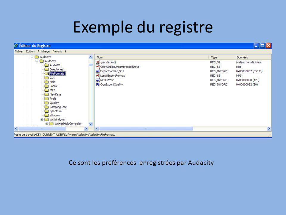 Exemple du registre Ce sont les préférences enregistrées par Audacity