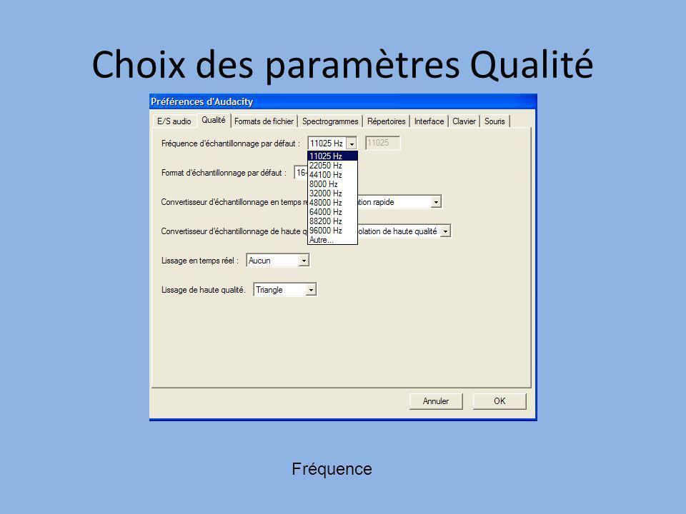 Choix des paramètres Qualité Fréquence