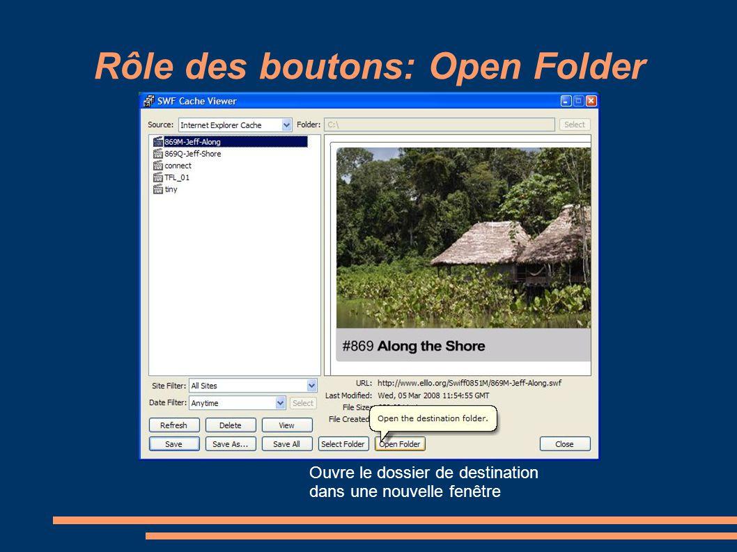 Rôle des boutons: Open Folder Ouvre le dossier de destination dans une nouvelle fenêtre