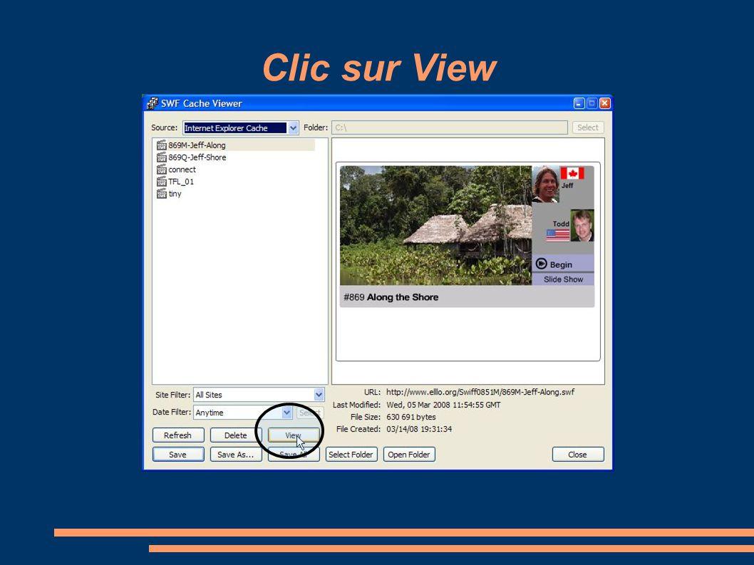 Clic sur View