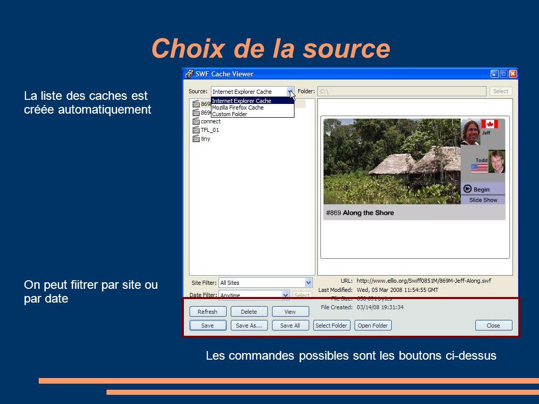 Choix de la source La liste des caches est créée automatiquement On peut fiitrer par site ou par date Les commandes possibles sont les boutons ci-dess