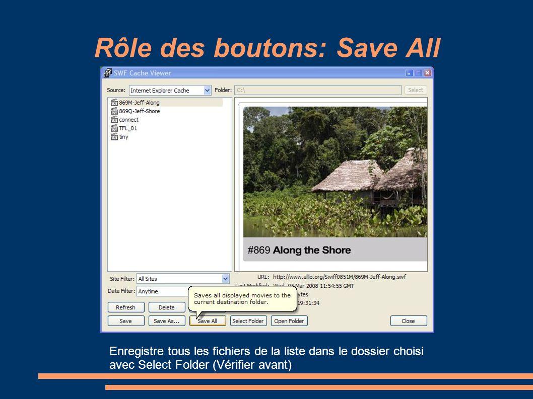 Rôle des boutons: Save All Enregistre tous les fichiers de la liste dans le dossier choisi avec Select Folder (Vérifier avant)