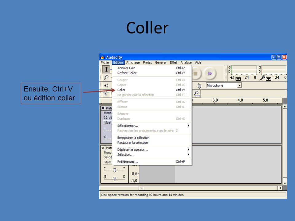 Coller Ensuite, Ctrl+V ou édition coller