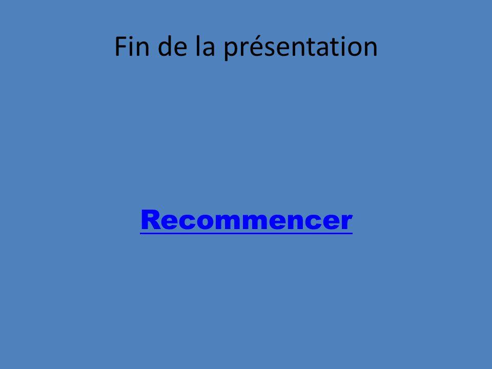 Fin de la présentation Recommencer