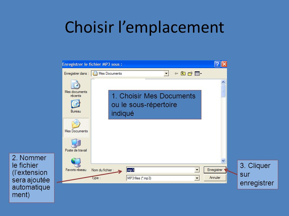 Choisir lemplacement 2. Nommer le fichier (lextension sera ajoutée automatique ment) 3. Cliquer sur enregistrer 1. Choisir Mes Documents ou le sous-ré