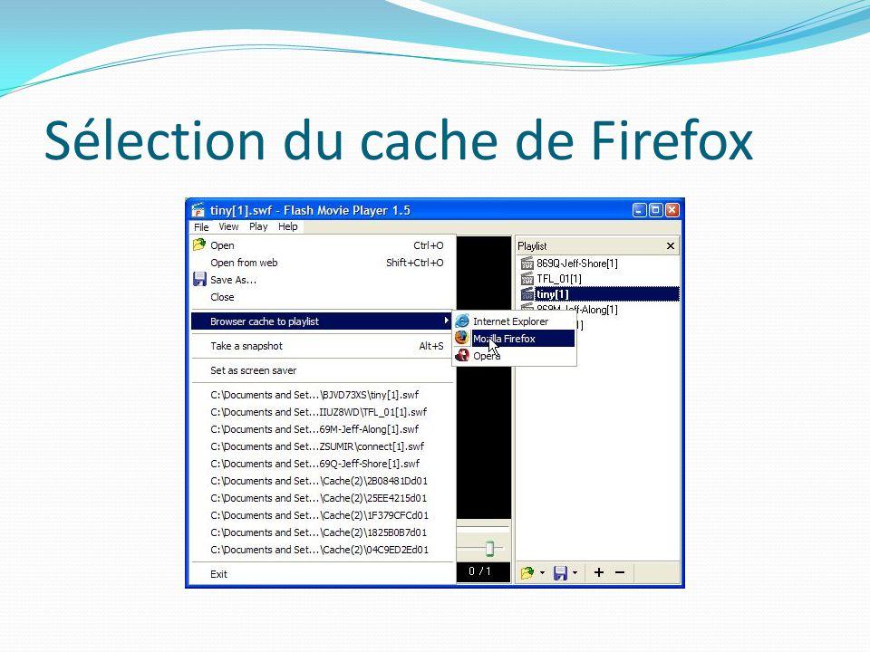 Sélection du cache de Firefox
