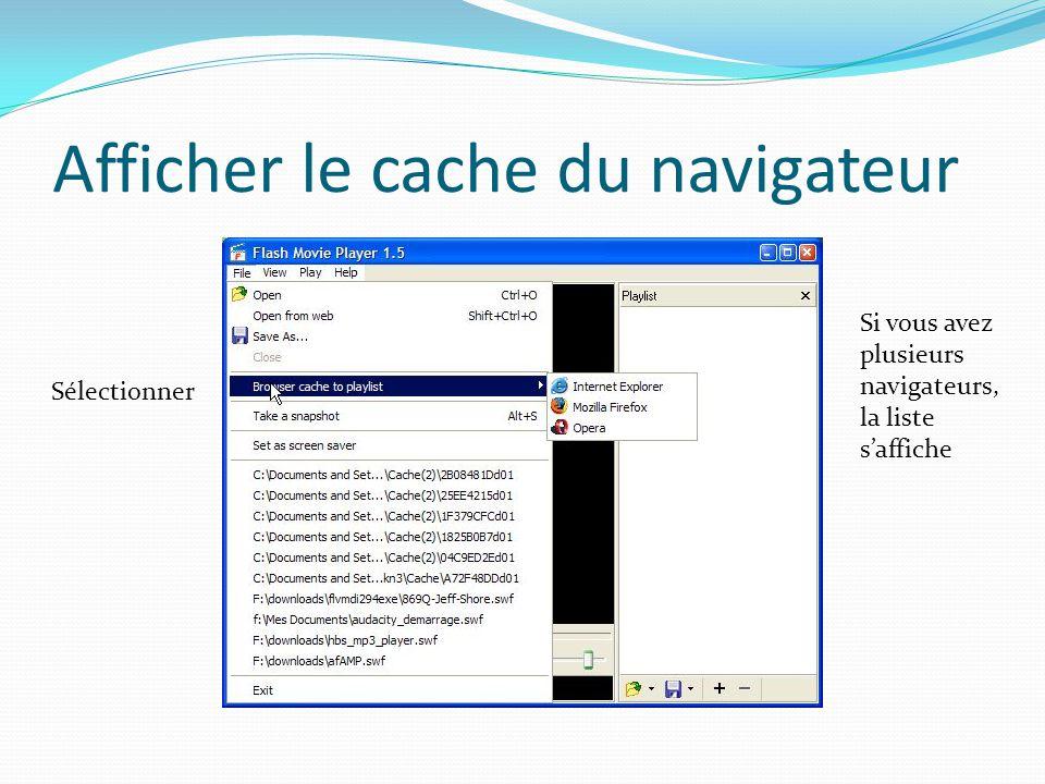 Afficher le cache du navigateur Sélectionner Si vous avez plusieurs navigateurs, la liste saffiche