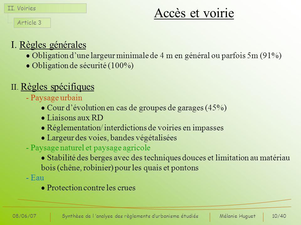 Mélanie Huguet10/40 08/06/07Synthèse de l analyse des règlements durbanisme étudiés Accès et voirie II. Voiries Article 3 I. Règles générales Obligati