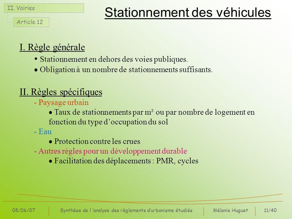 Mélanie Huguet11/40 08/06/07Synthèse de l analyse des règlements durbanisme étudiés Stationnement des véhicules II. Voiries Article 12 I. Règle généra