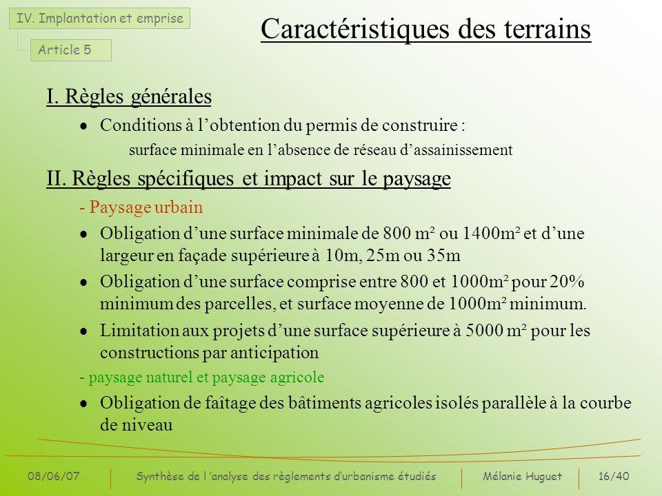 Mélanie Huguet16/40 08/06/07Synthèse de l analyse des règlements durbanisme étudiés Caractéristiques des terrains I. Règles générales Conditions à lob