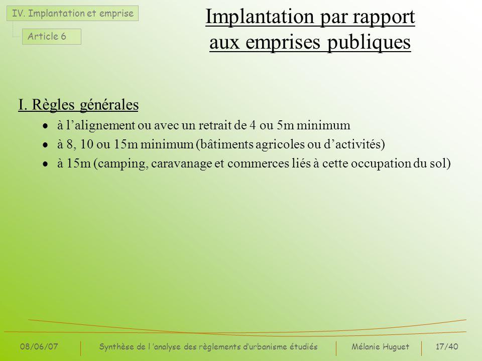 Mélanie Huguet17/40 08/06/07Synthèse de l analyse des règlements durbanisme étudiés Implantation par rapport aux emprises publiques I.