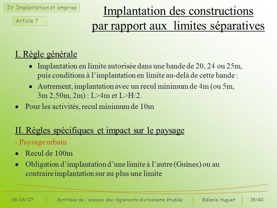 Mélanie Huguet19/40 08/06/07Synthèse de l analyse des règlements durbanisme étudiés Implantation des constructions par rapport aux limites séparatives