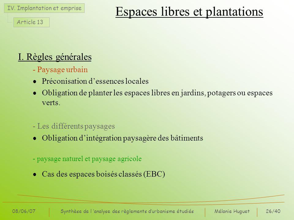 Mélanie Huguet26/40 08/06/07Synthèse de l analyse des règlements durbanisme étudiés Espaces libres et plantations I. Règles générales - Paysage urbain