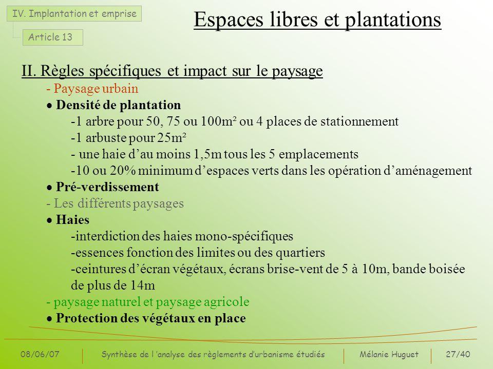 Mélanie Huguet27/40 08/06/07Synthèse de l analyse des règlements durbanisme étudiés II. Règles spécifiques et impact sur le paysage - Paysage urbain D
