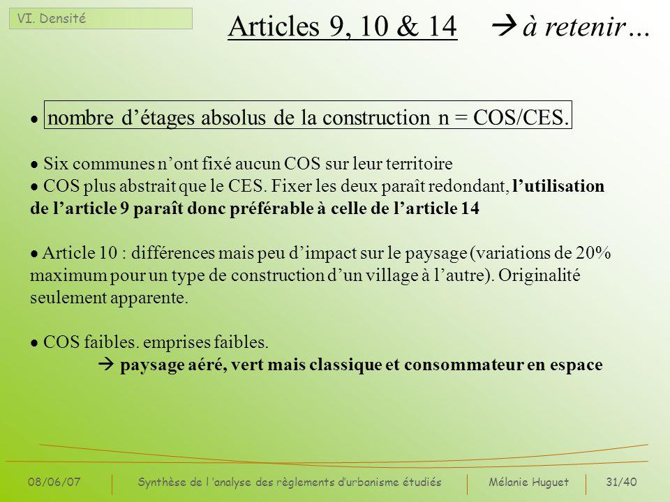 Mélanie Huguet31/40 08/06/07Synthèse de l analyse des règlements durbanisme étudiés Articles 9, 10 & 14 à retenir… VI. Densité nombre détages absolus