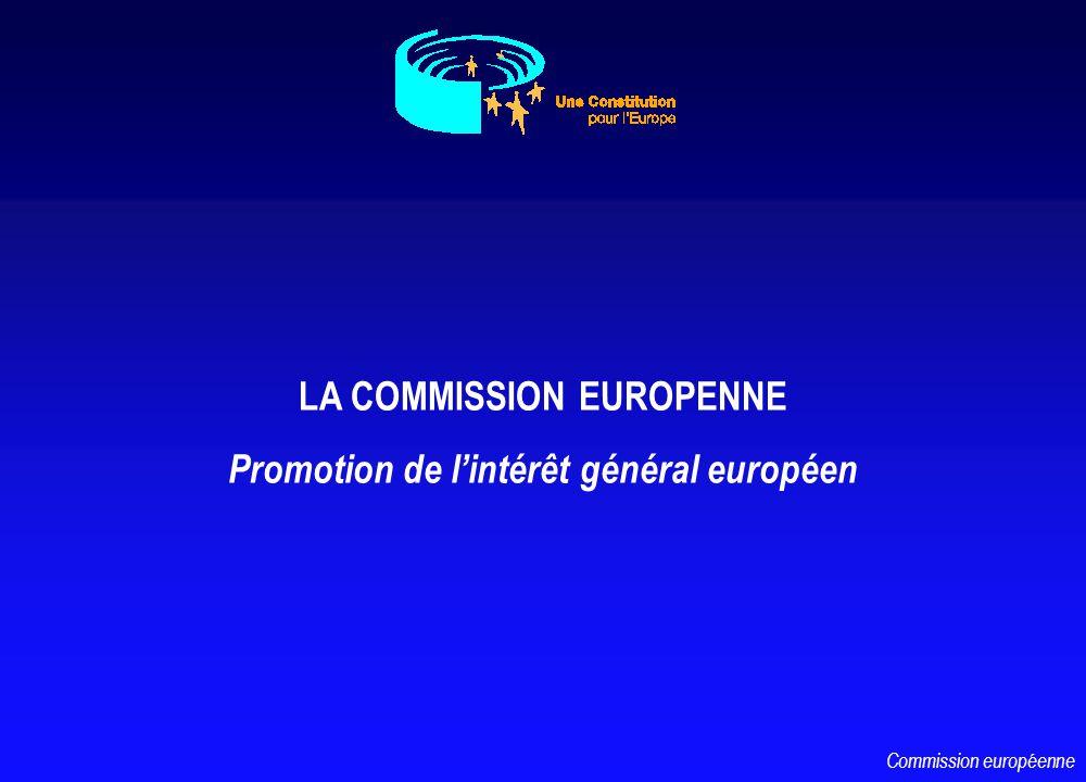 LA COMMISSION EUROPENNE Promotion de lintérêt général européen Commission européenne