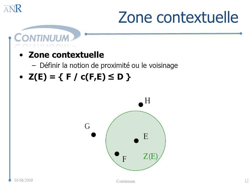 Zone contextuelle –Définir la notion de proximité ou le voisinage Z(E) = { F / c(F,E) D } 30/06/2009 12 Continuum