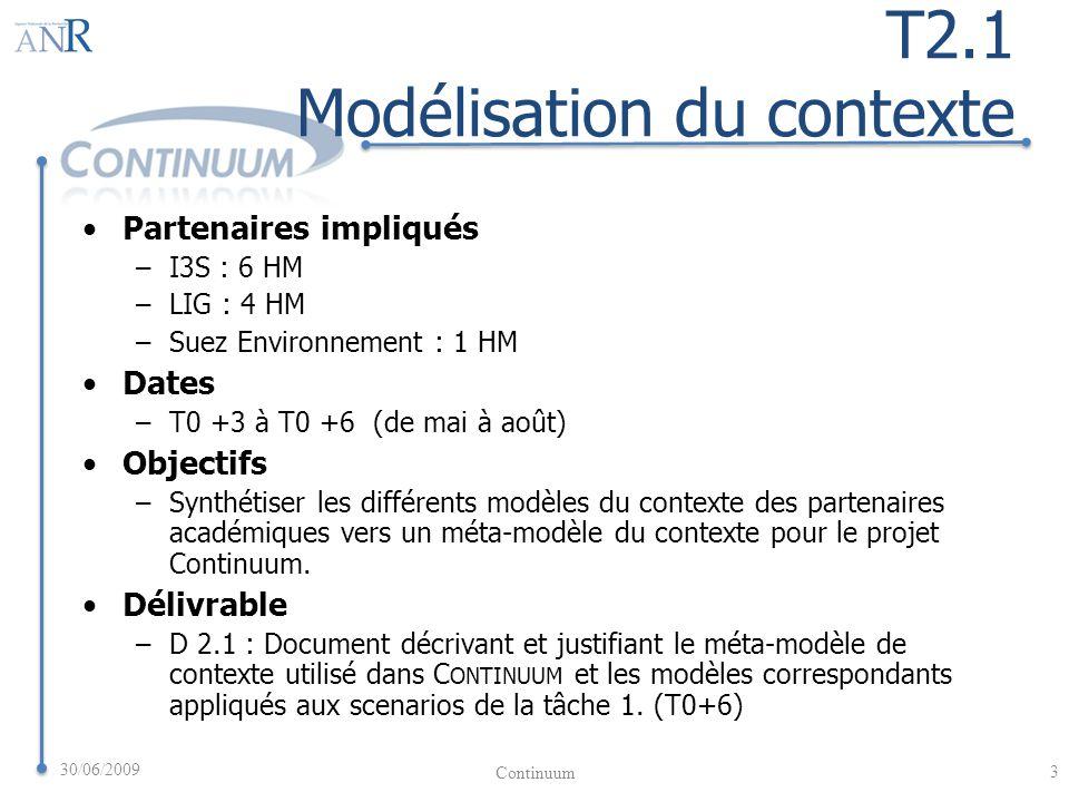 T2.1 Modélisation du contexte Partenaires impliqués –I3S : 6 HM –LIG : 4 HM –Suez Environnement : 1 HM Dates –T0 +3 à T0 +6 (de mai à août) Objectifs –Synthétiser les différents modèles du contexte des partenaires académiques vers un méta-modèle du contexte pour le projet Continuum.