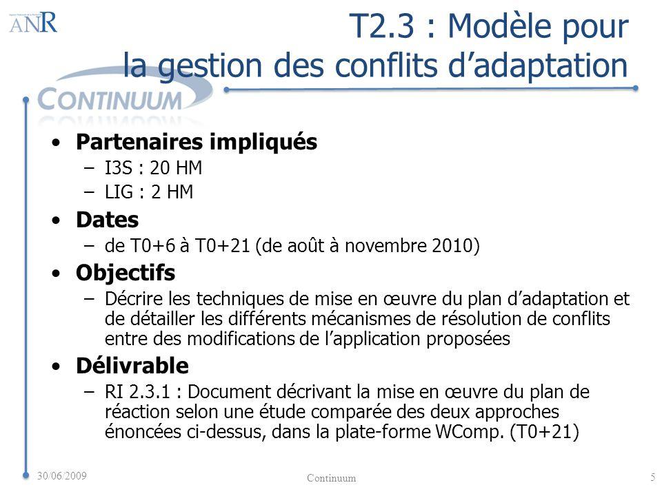 T2.3 : Modèle pour la gestion des conflits dadaptation Partenaires impliqués –I3S : 20 HM –LIG : 2 HM Dates –de T0+6 à T0+21 (de août à novembre 2010) Objectifs –Décrire les techniques de mise en œuvre du plan dadaptation et de détailler les différents mécanismes de résolution de conflits entre des modifications de lapplication proposées Délivrable –RI 2.3.1 : Document décrivant la mise en œuvre du plan de réaction selon une étude comparée des deux approches énoncées ci-dessus, dans la plate-forme WComp.