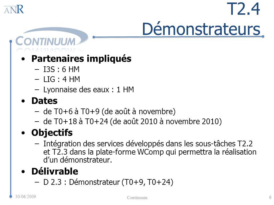 T2.4 Démonstrateurs Partenaires impliqués –I3S : 6 HM –LIG : 4 HM –Lyonnaise des eaux : 1 HM Dates –de T0+6 à T0+9 (de août à novembre) –de T0+18 à T0+24 (de août 2010 à novembre 2010) Objectifs –Intégration des services développés dans les sous-tâches T2.2 et T2.3 dans la plate-forme WComp qui permettra la réalisation dun démonstrateur.