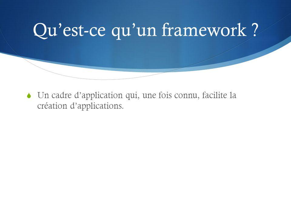 Quest-ce quun framework ? Un cadre dapplication qui, une fois connu, facilite la création dapplications.