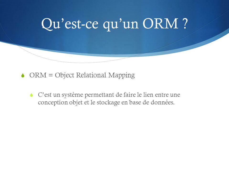 Quest-ce quun ORM ? ORM = Object Relational Mapping Cest un système permettant de faire le lien entre une conception objet et le stockage en base de d