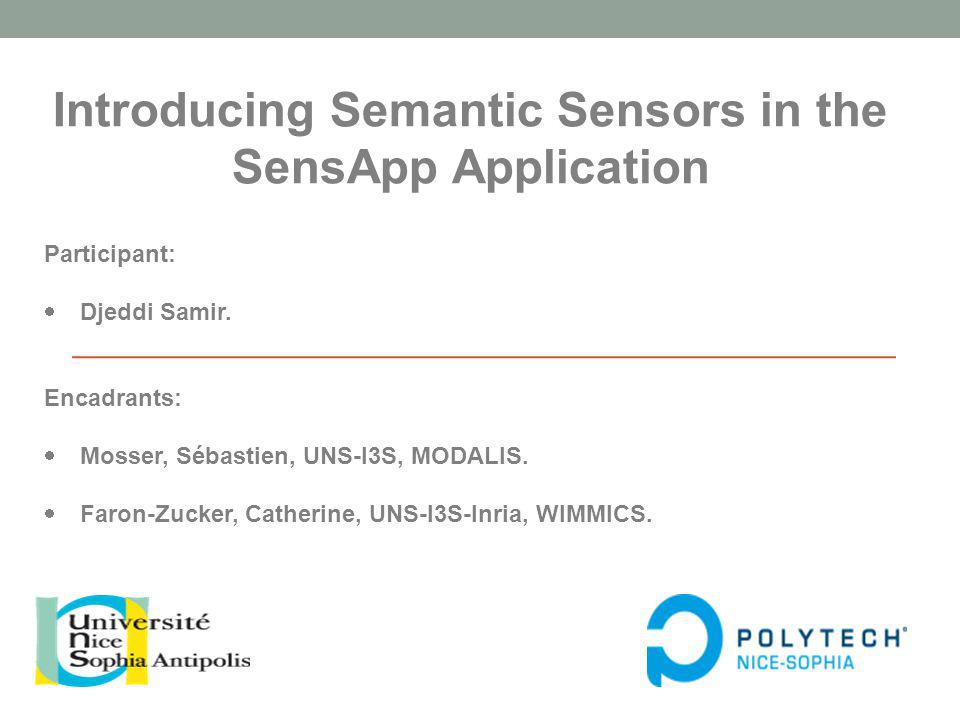 Introducing Semantic Sensors in the SensApp Application Participant: Djeddi Samir.