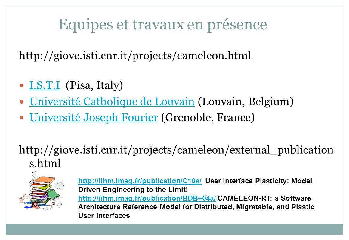 Equipes et travaux en présence Equipe de Fabio Paterno : http://hiis.isti.cnr.it/publications.phphttp://hiis.isti.cnr.it/publications.php 2009 : A Universal, Declarative, Multiple Abstraction-Level Language for Service-Oriented Applications in Ubiquitous Environments FABIO PATERNO, CARMEN SANTORO, and LUCIO DAVIDE SPANO ISTI- CNR ServFace http://www.servface.eu/index.php?option=com_docman&task=cat_vie w&gid=34&limit=5&limitstart=0&order=date&dir=DESC&Itemid=60 http://www.servface.eu/index.php?option=com_docman&task=cat_vie w&gid=34&limit=5&limitstart=0&order=date&dir=DESC&Itemid=60 Service Composition at the Presentation Layer using Web Service Annotations