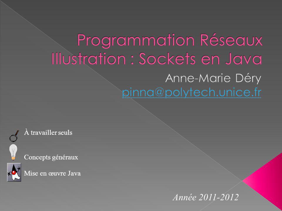 À travailler seuls Concepts généraux Mise en œuvre Java Année 2011-2012