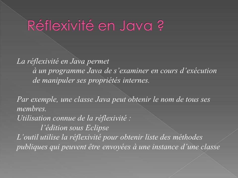 La réflexivité en Java permet à un programme Java de sexaminer en cours dexécution de manipuler ses propriétés internes.