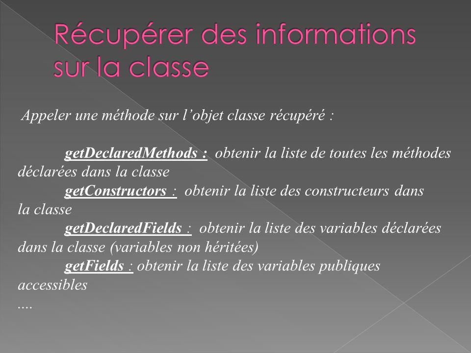 Par exemple : Class c = Class.forName( java.lang.String ); Method m[] = c.getDeclaredMethods(); System.out.println(m[0])); pour manipuler linformation