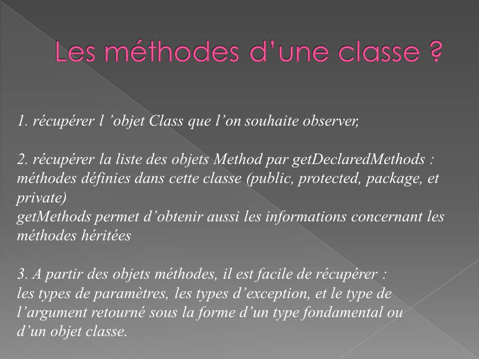 Class cls = Class.forName(args[0]); Method methlist[] = cls.getDeclaredMethods(); for (int i = 0; i < methlist.length; i++) { Method m = methlist[i]; System.out.println( name = + m.getName()); System.out.println( decl class = + m.getDeclaringClass()); Class pvec[] = m.getParameterTypes(); for (int j = 0; j < pvec.length; j++) System.out.println( param # + j + + pvec[j]); Class evec[] = m.getExceptionTypes(); for (int j = 0; j < evec.length; j++) System.out.println( exc # + j + + evec[j]); System.out.println( return type = + m.getReturnType());}