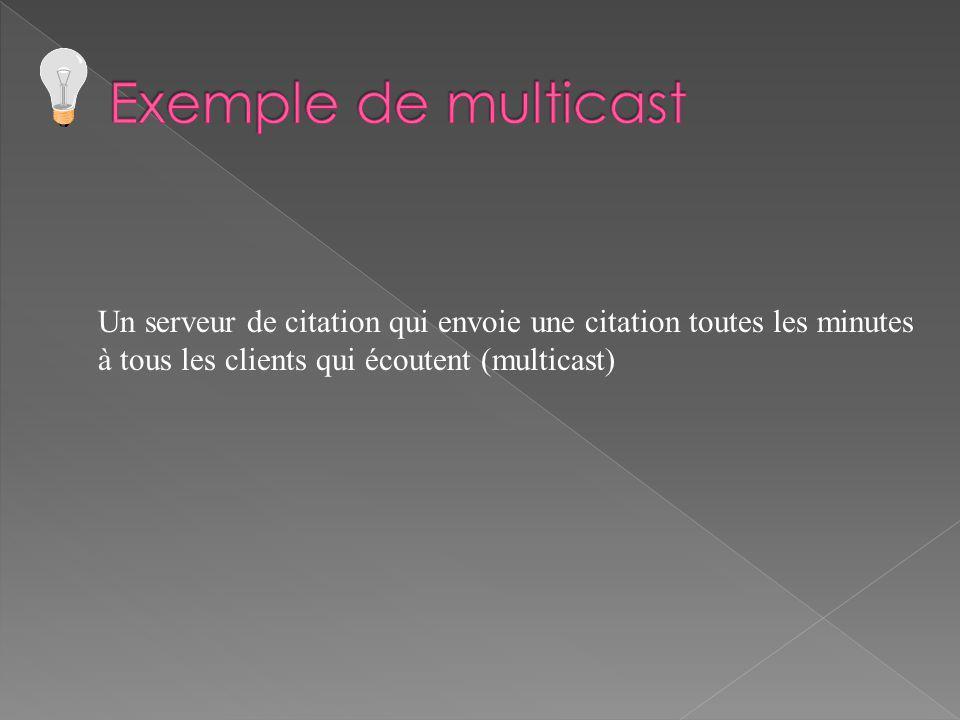Un serveur de citation qui envoie une citation toutes les minutes à tous les clients qui écoutent (multicast)