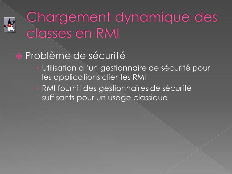 Problème de sécurité Utilisation d un gestionnaire de sécurité pour les applications clientes RMI RMI fournit des gestionnaires de sécurité suffisants pour un usage classique