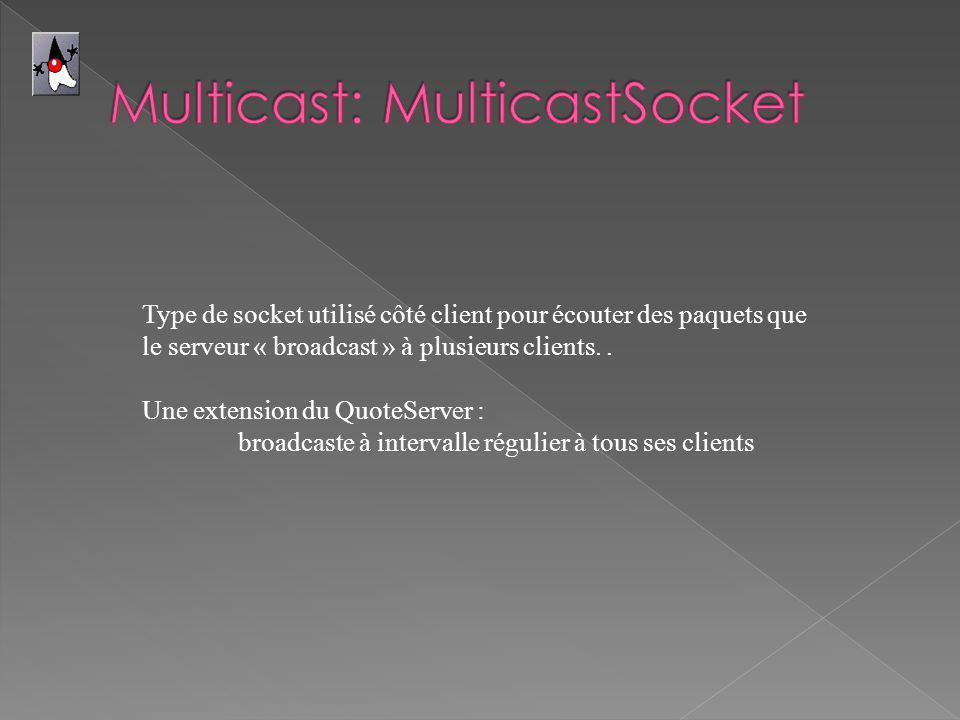 Type de socket utilisé côté client pour écouter des paquets que le serveur « broadcast » à plusieurs clients..