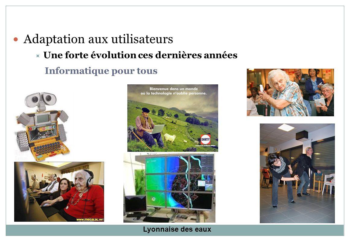Adaptation aux utilisateurs Une forte évolution ces dernières années Informatique pour tous Lyonnaise des eaux