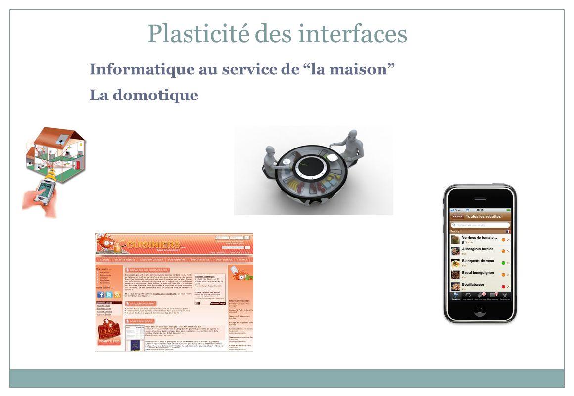 Informatique au service de la maison La domotique Plasticité des interfaces