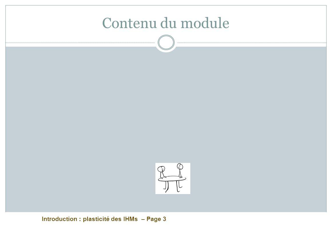 Introduction : plasticité des IHMs – Page 3 Contenu du module