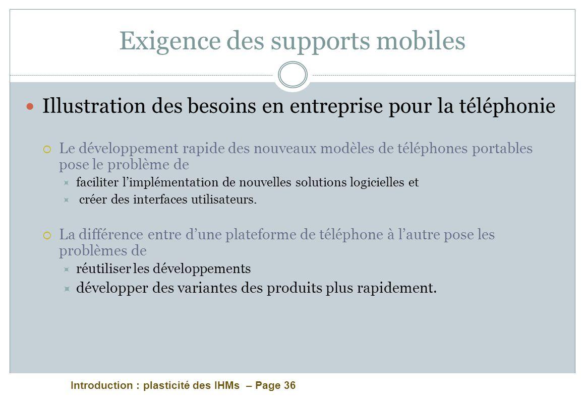 Introduction : plasticité des IHMs – Page 36 Exigence des supports mobiles Illustration des besoins en entreprise pour la téléphonie Le développement